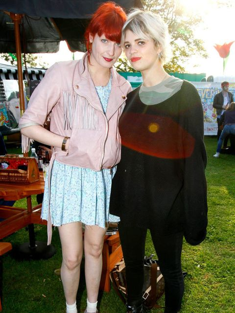<p>Florence Welch wearing a Mulberry leather jacket with Pixie Geldof </p>