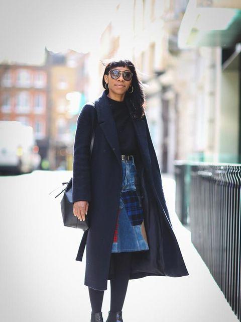 <p>Kenya Hunt, Fashion Features Director</p><p>Cos coat, Laura Valentini jumper, Junya Watanabe skirt, Mansur Gavriel bag, Prada glasses</p>