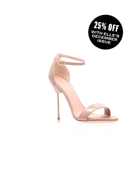 "<p>Elongate the leg in these leg lengthening sandals</p><p><a href=""http://www.kurtgeiger.com/women/shoes/belgravia-nude-leather-patent-41-kurt-geiger-london-shoe.html"">Kurt Geiger </a>Belgravia sandal £240</p>"