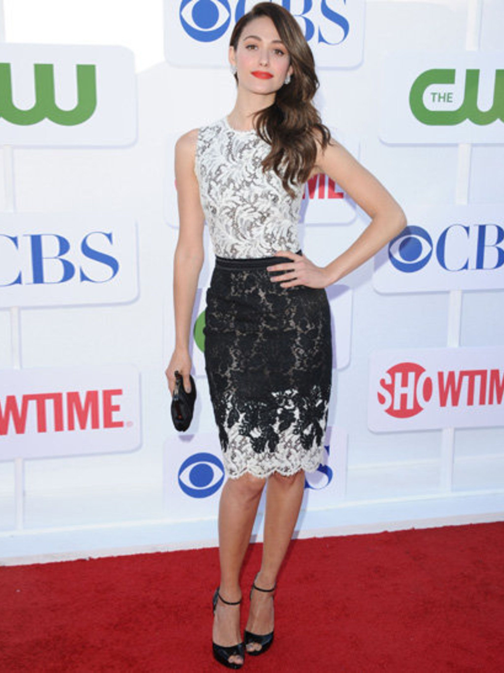 <p>Emmy Rossum in Zuhair Murad at the CBS Summer Tour party in LA</p>