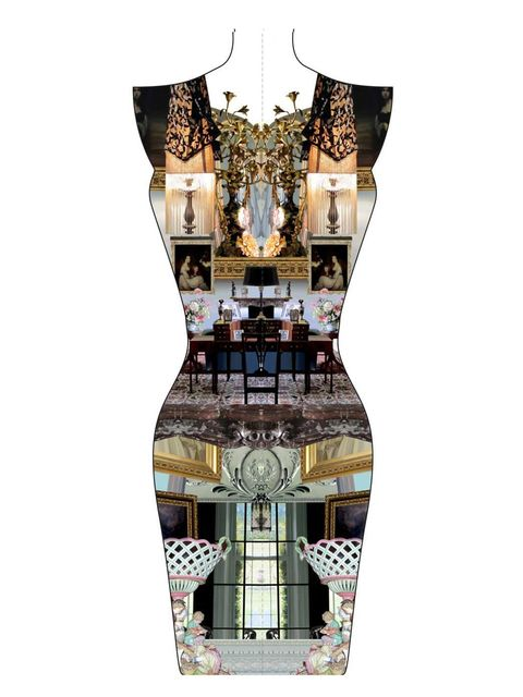 <p>Artwork for one of the dresses in Mary Katrantzou's Port Eliot triptych</p>