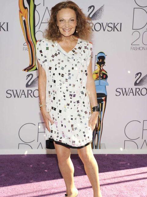 "<p><a href=""http://www.elleuk.com/catwalk/collections/diane-von-furstenberg/autumn-winter-2011/review"">Diane von Furstenberg</a> in an embellished dress on the purple carpet at The CFDA Awards in New York, 6 June 2011</p>"