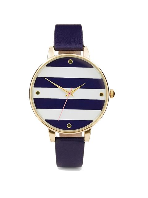 """<p>Acting Commissioning EditorGeorgia Simmonds is addicted to the nautical trend this season.</p><p><a href=""""http://www.asos.com/ASOS/ASOS-Stripe-Large-Round-Face-Watch/Prod/pgeproduct.aspx?iid=4382356&cid=13489&sh=0&pge=1&pgesize=36&sort=-1&clr=Navy&"""