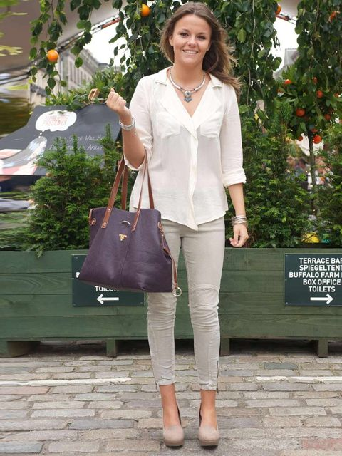 <p>Juliet Lamb, 22, Freelance Events Assistant. Topshop shirt and jeans, New Look shoes, Prada bag, necklace from Morocco.</p>