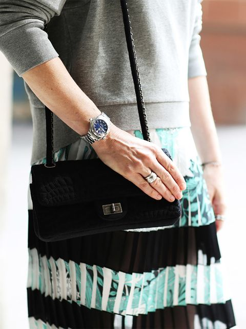 Lorraine Candy – Editor in Chief  Jonathan Saunders dress, AllSaints sweatshirt, Chanel bag.