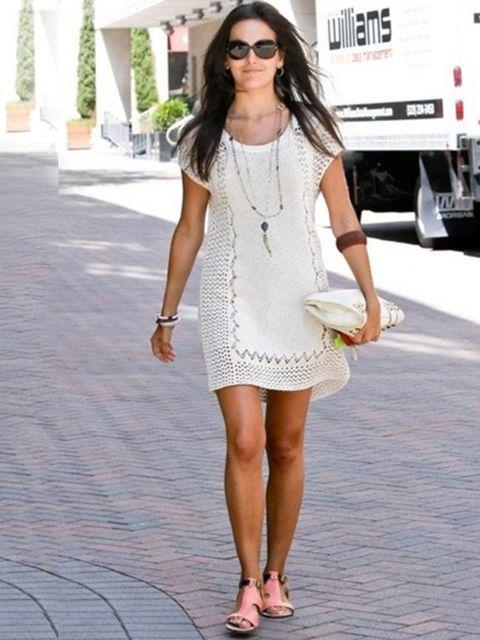 <p>Camilla Belle wearing Rebecca Minkoff Bardot sandals, August 2012.</p>