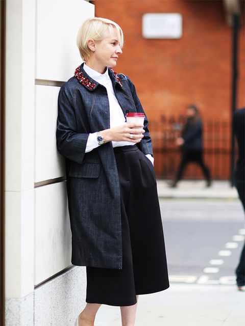 "<p>Lorraine Candy – Editor in Chief </p>  <p><span style=""line-height:1.6"">Miu Miu coat, Topshop culottes, Carven shirt, Anya Hindmarch bag, Office shoes</span></p>"