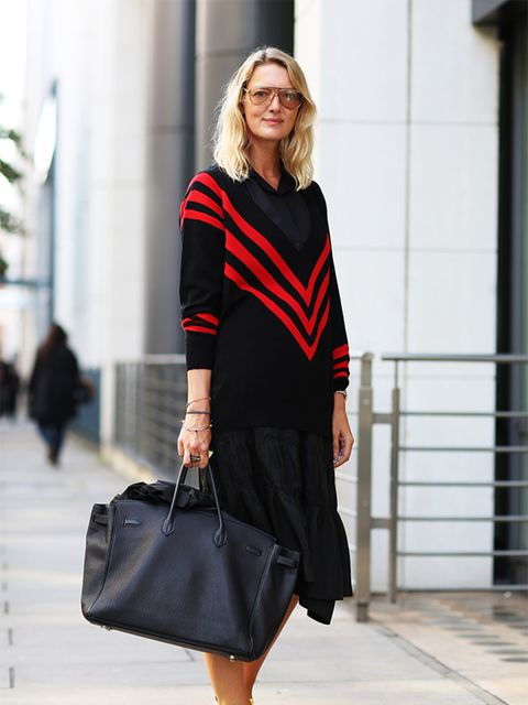 <p>Rebecca Lowthorpe - ELLE Collections Editor/Assistant Editor ELLE</p>  <p>Prada jumper, Tao skirt, Balenciaga blouse, Marni shoes.</p>