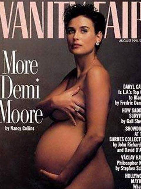 <p>Demi Moore's iconic Vanity Fair cover shot, 1991.</p>