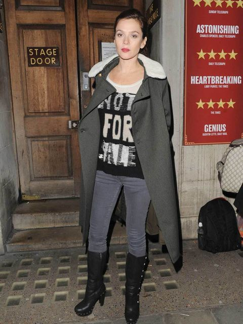 <p>Anna Friel teams her AllSaints 'Soviet' coat with 'Shred' jumper as she leaves the Vaudeville Theatre after her performance in 'Uncle Vanya', November 2012.</p>