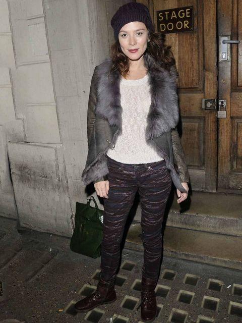 <p>Anna Friel dressed head-to-toe in AllSaints after her performance in 'Uncle Vanya' at the Vaudeville Theatre, November 2012.</p>
