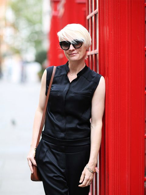 <p>Lorraine Candy - Editor in Chief</p>  <p>Dolce & Gabbana bag, AllSaints jumpsuit, Prada glasses, Office trainers.</p>