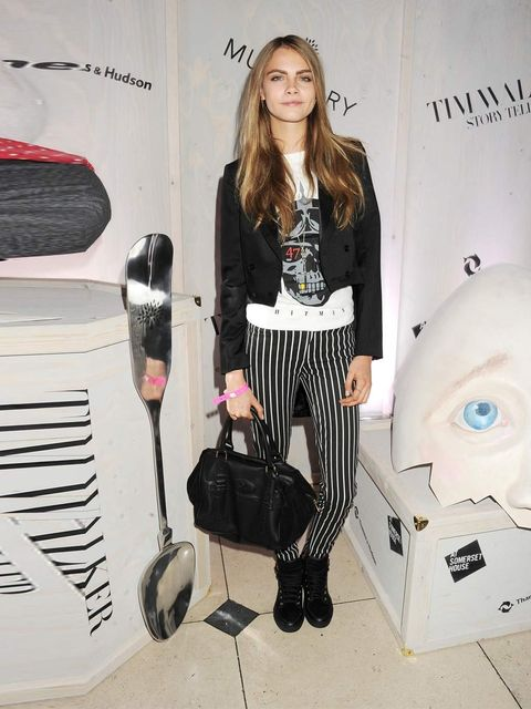 <p>Model Cara Delevingne at the Tim Walker exhibition opening party.</p>