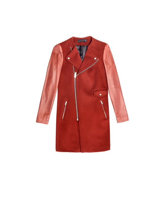 "<p>Don't go for a boring black or grey, make a statement in winter with this red coat… <a href=""http://www.zara.com/webapp/wcs/stores/servlet/product/uk/en/zara-neu-W2012/269183/988010/BIKER%20COAT%20WITH%20ZIP"">Zara</a> red coat with leather sleeves, £14"