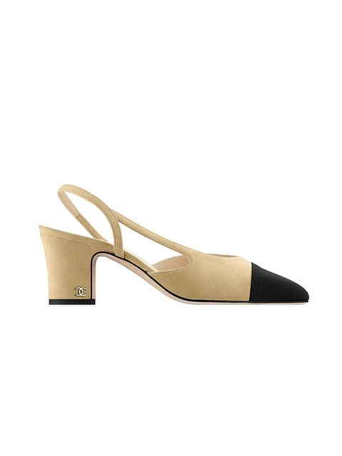 """<p><a href=""""http://www.chanel.com/en_GB/fashion/products/shoes/g/s.kid-suede-and-grosgrain-slingback.15K.G31318Y50009C8379.c.15K.html"""" target=""""_blank"""">Chanel</a> Shoe, £455</p>"""