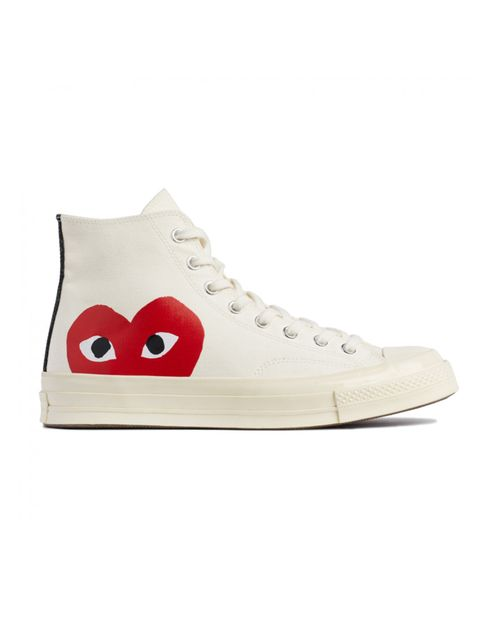 """<p><a href=""""http://shop.doverstreetmarket.com/sneaker-space/play-cdg-x-converse/play-converse-chuck-taylor-all-star-70-high-white"""" target=""""_blank"""">CDG x Converse at Dover Street Market</a>, £95</p>"""