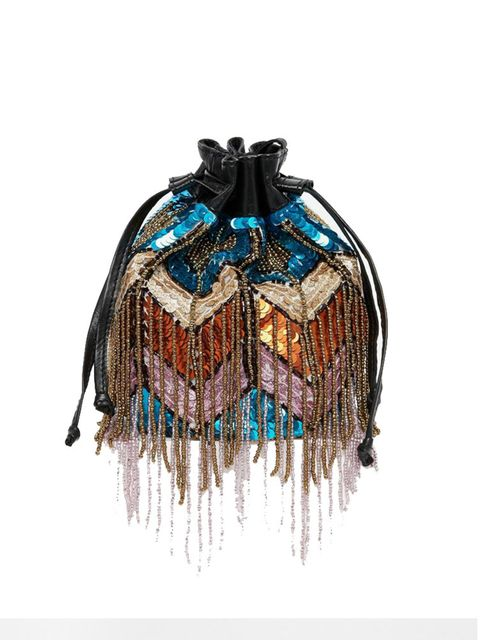 """<p><a href=""""http://www.asos.com/ASOS/ASOS-Co-ord-Mini-Leather-Sequin-Fringe-Duffle-Bag/Prod/pgeproduct.aspx?iid=5453133&cid=8730&Rf-400=53&sh=0&pge=0&pgesize=204&sort=-1&clr=Multi&totalstyles=350&gridsize=3"""" target=""""_blank"""">ASOS</a> Sequin Bag, £35</p>"""