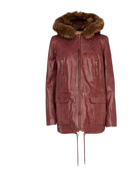 "<p><a href=""http://www.elleuk.com/fashion/news/river-island-to-cross-the-pond"">River Island</a> Leather Parka £200. Available at<a href=""http://www.riverisland.com/women/coats--jackets/parkas/dark-red-leather-parka-621077""> RiverIsland.com</a></p>"