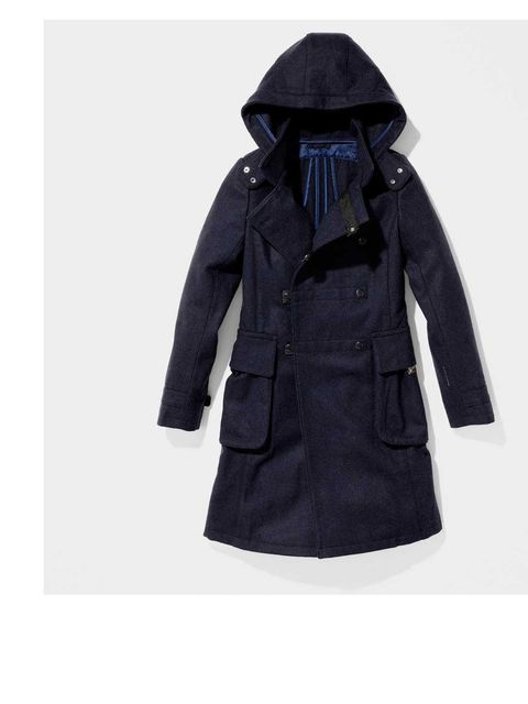 "<p>G-Star Navy Legionaire Coat £279. Available from <a href=""http://shop.g-star.com/JACKETS/LEGIONNAIRE-HOODED-DUFFLE-pcyQIKA5AVXzoAAAE6uE8K7mTPLPIKA5AVRrkAAAE4BE1GzExg-gstar-uk-Site-WFS-en_GB-GBP.html"">g-star.com</a></p>"