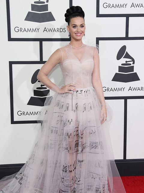 <p>Katy Perry took this musical Valentino gown straight from the s/s 2014 couture catwalk to the 56th Annual Grammy Awards.</p>  <p>&nbsp;</p>  <p>&nbsp;</p>