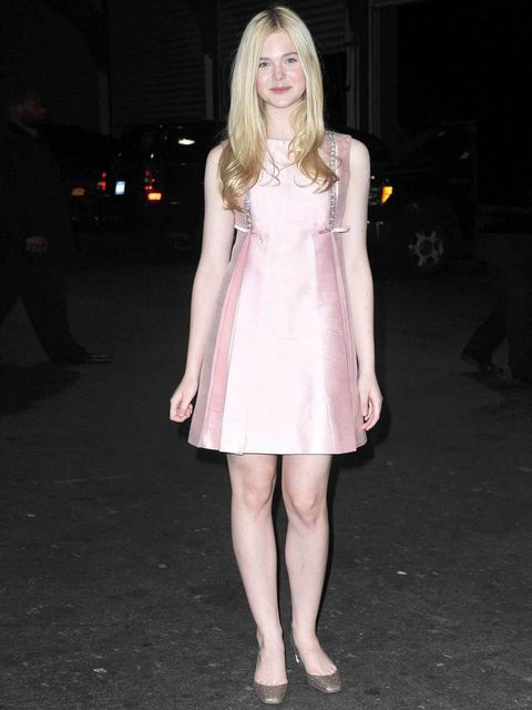 """<p><a href=""""http://www.elleuk.com/fashion/news/elle-fanning-the-pre-teen-style-icon"""">Elle Fanning</a> complementing her pretty pastel dress with a pair of sparkly pumps</p>"""