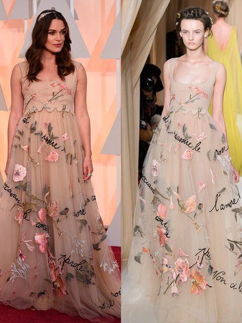 Keira Knightley wears Valentino Spring 2015 Couture at the 2015 Oscars, February 2015.