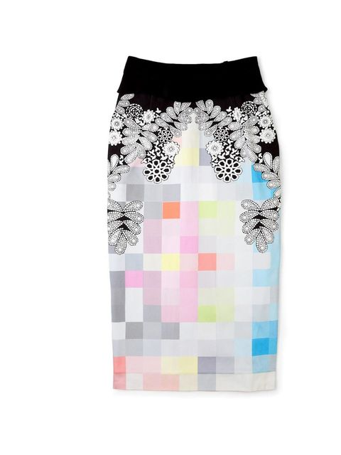 "<p>Preen digital print skirt, £535, at <a href=""http://www.my-wardrobe.com/preen?search=preen"">My-Wardrobe</a></p>"