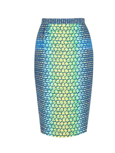 "<p>Peter Pilotto net print skirt, £450, at <a href=""http://www.harveynichols.com/womens/categories-1/designer-skirts/knee-length/s393259-ruler-navy-net-print-skirt.html?colour=NAVY+AND+OTHER"">Harvey Nichols</a></p>"