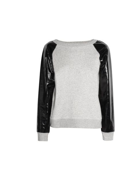 "<p>Karl PVC and jersey sweater, £115, at <a href=""http://www.net-a-porter.com/product/311322"">Net-a-Porter </a></p>"