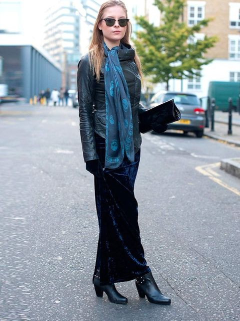 <p>Olivia, 21, Fashion Student.All Saints jacket, Asos skirt, Walter Steiger boots and bag, Alexander Mcqueen scarf.</p>