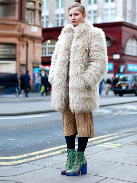 <p>Marsha Mel, 23, Photographer.Reiss coat, vintage top and bag, Topshop skirt, Missoni shoes.</p>