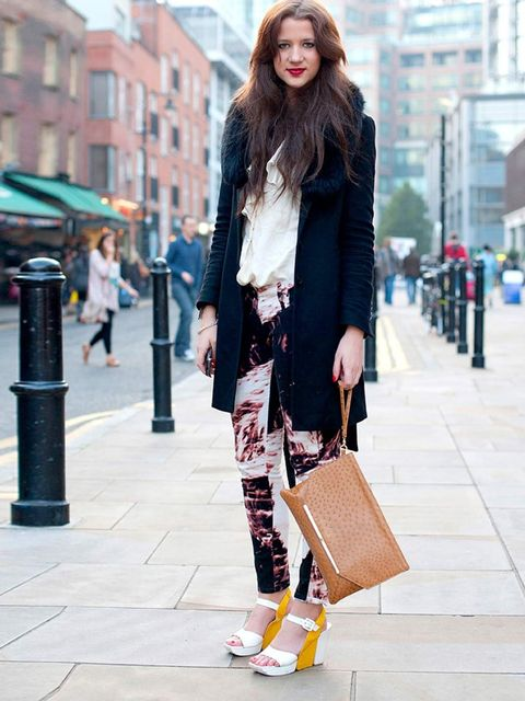 <p>Jessica, 23, Fsashion Student.Jacket from Japan, grandmothers shirt, Sass and Bide jeans, Asos clutch, jewellery from Bethnal Green road.</p>