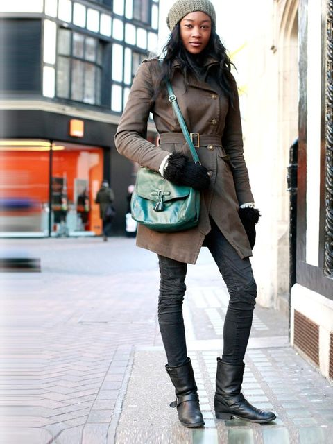 <p>Betty Adewole, 19, Model.Topshop coat and hat, H&M bag and mittens, Zara jeans, Oasis boots.</p>