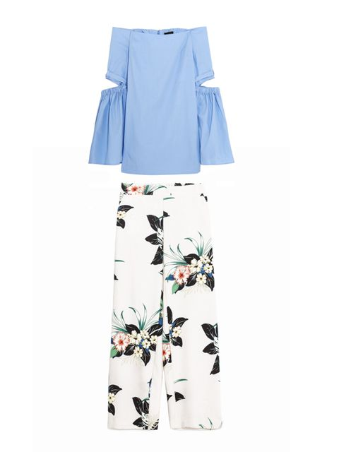 "<p>Cut out top with fluted sleeves, £470, <a href=""https://www.net-a-porter.com/gb/en/product/678856/Ellery/cyril-off-the-shoulder-cutout-cotton-poplin-top"" target=""_blank"">Ellery</a></p>  <p>Flroal print trousers, £29.99, <a href=""http://www.zara.com/uk/"