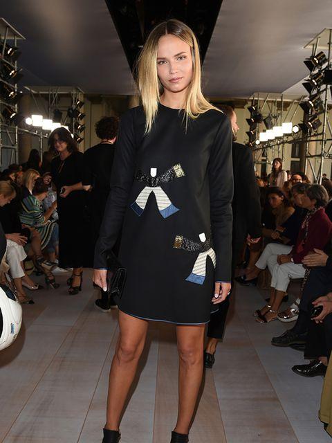 <p>Natasha Poly attends the Roberto Cavalli s/s 16 show during Milan Fashion Week.</p>