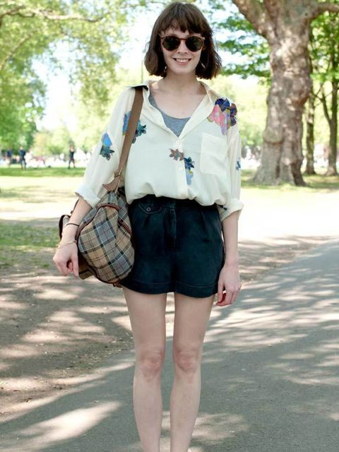 <p>Photo by Kirstin Sinclair @ Anthea Simms.Gus Akerman, 26, Production Design Assistant. Acne shirt, Topshop shorts, vintage shoes, Barbour bag.</p>
