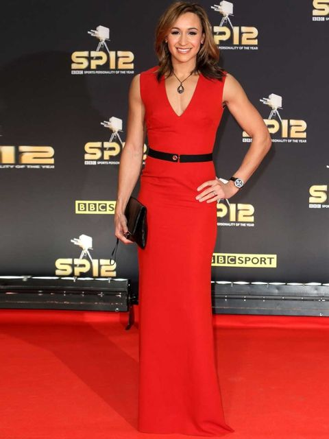 "<p>London Olympics 2012 gold medal winner Jessica Ennis wears <a href=""http://www.elleuk.com/catwalk/designer-a-z/victoria-beckham/spring-summer-2013"">Victoria Beckham</a> to the BBC Sports Personality of the Year Awards, 2012.</p>"