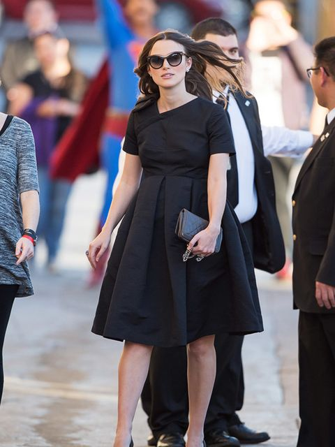 <p>Keira Knightley out and about in an Orla Kiely dress in LA, February 2015.</p>