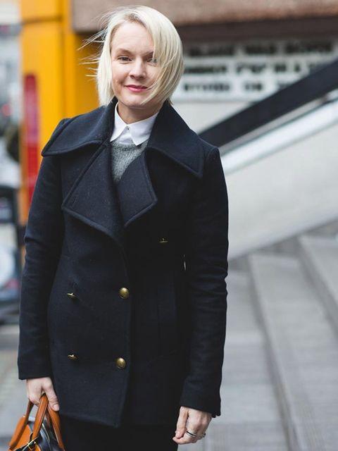 Lorraine Candy, Editor-in-Chief AllSaints coat, Paul Smith shirt, Joseph trousers, Prada boots, Louis Vuitton bag