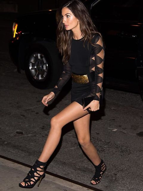Lily Aldridge attends the Victoria's Secret viewing party in New York, December 2015