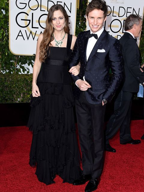 Eddie Redmayne and Hannah Bagshawe  attend the Golden awards in LA, January 2016.