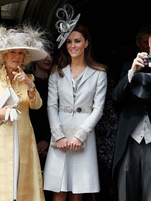 <p>Kate Middleton wears Katherine Hooker coat June 2011</p>