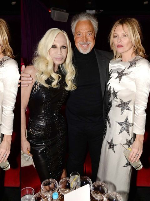 <p>Donatella Versace, Tom Jones and Kate Moss at the launch party to celebrate the 60th anniversary of Playboy with Kate Moss at the London Bookmarc. </p>