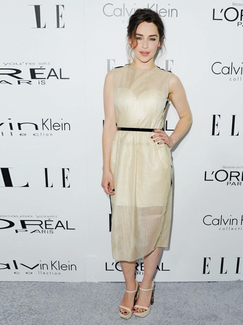 """<p>Emilia Clarke arrives at ELLE's 20th Annual Women In Hollywood celebration, October 2013.</p><p><a href=""""http://www.elleuk.com/star-style/news/the-feminist-vending-machine-imawomanand-feminism-wieden-kennedy-vagenda""""></a></p><p><em><a href=""""http://www."""