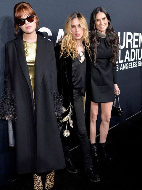 Talulah Willis, Scout Willis and Demi Moore attend the Saint Laurent at the Palladium show in LA, Februrary 2016.