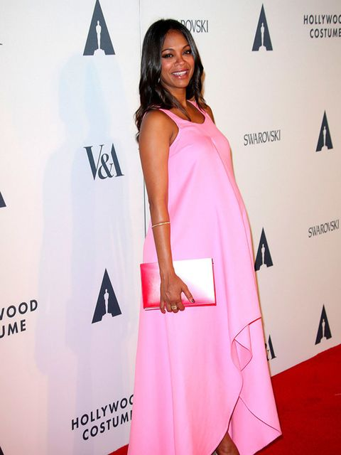 <p>Zoe Saldana (and her twins!) in Dior at The Academy Celebrates The Opening of Hollywood Costume, America.</p>
