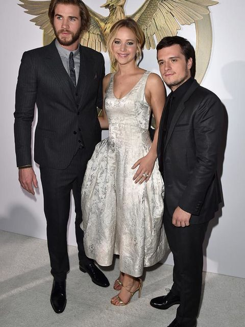 Josh Hutcherson, Jennifer Lawrence and Liam Hemsworth at The Hunger Games: Mockingjay Part 1 premiere in LA, November 2014.