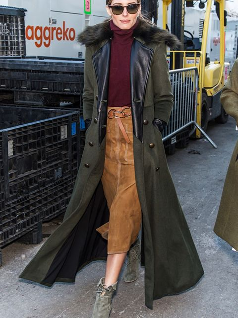 "<p><a href=""http://www.elleuk.com/fashion/celebrity-style/olivia-palermo"" target=""_blank"">Olivia Palermo</a> wearing a Marks and Spencer suede skirt</p>"