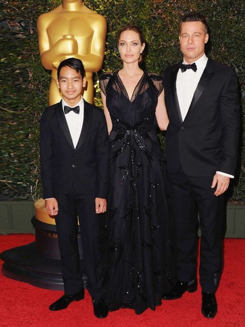 <p>Brad Pitt, Angelina Jolie and Maddox Jolie-Pitt looking spiffing at the Governors Awards.</p>