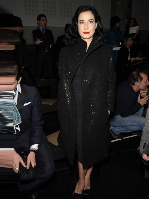 "<p>Dita Von Teese attends the <a href=""http://www.elleuk.com/catwalk/designer-a-z/elie-saab/couture-ss-2013"">Elie Saab Couture Spring Summer 13</a> show in Paris.</p>"
